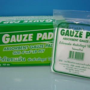 ผ้าก็อซแผ่น Gauze Pad ขนาด 4x4 in กล่องละ 10 ซอง